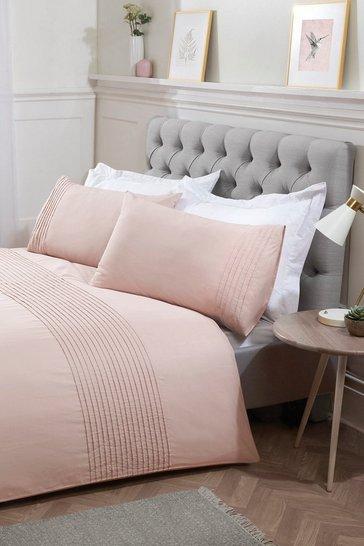 Blush pink Pintuck Double Duvet Set