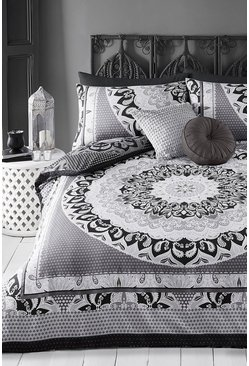 Black Paisley Mandala Double Duvet Set