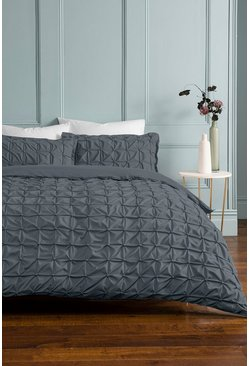 Grey Rouched Pleat Double Duvet Set