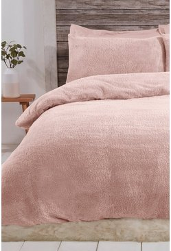 Blush pink Teddy Fleece Double Duvet Set