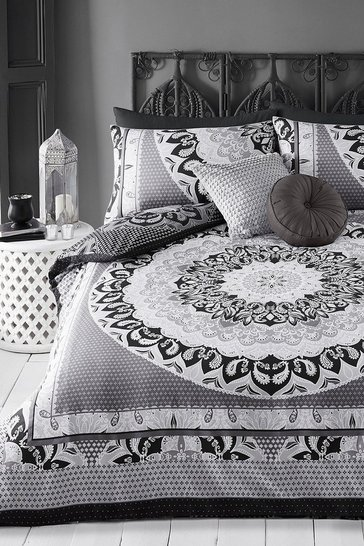 Black Paisley Mandala King Duvet Set