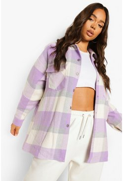 Lilac Oversized Check Shacket