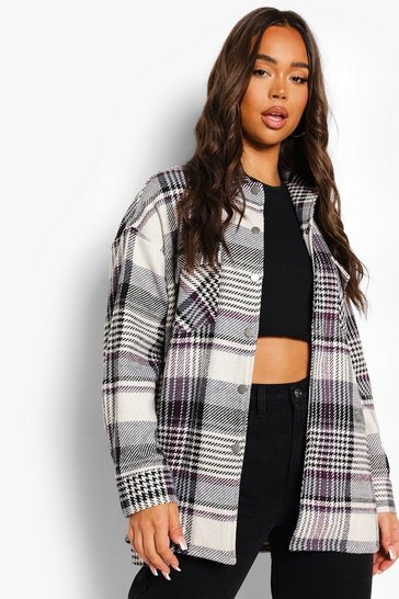 Black Mono Oversized Check Shacket
