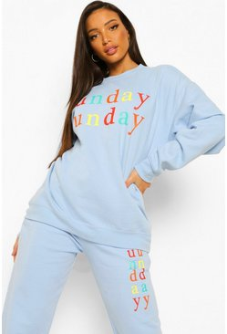 "Tall Sweatshirt-Trainingsanzug mit ""Sunday Funday""-Print, Blau"