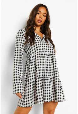 Black Gingham Collared Long Sleeve Smock Dress