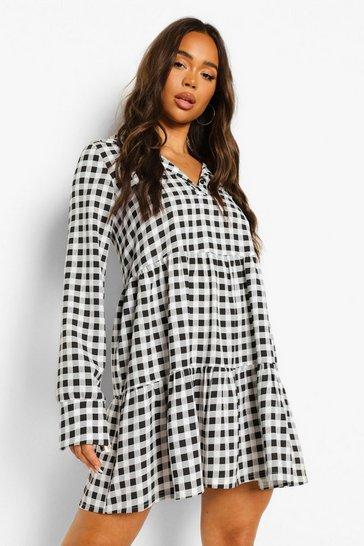 Black Gingham Collared Long Sleeve Smock Dress