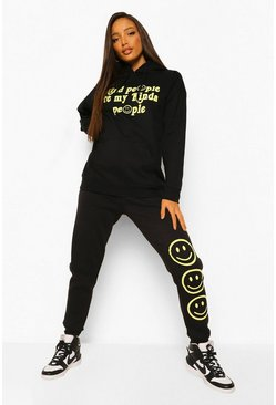 Black Tall Kind People Face Hoody Tracksuit