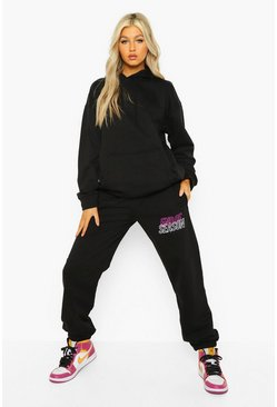"Tall Hoodie-Trainingsanzug mit ""End Season Hoop""-Slogan, Schwarz"