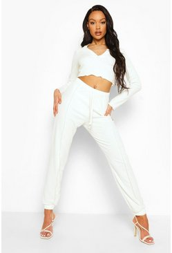 Ivory white Crinkle Rib Exposed Seam Crop And Joggers
