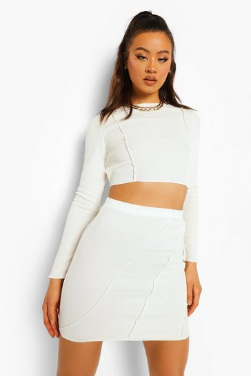 Ivory white Crinkle Rib Exposed Seam Crop And Mini Skirt
