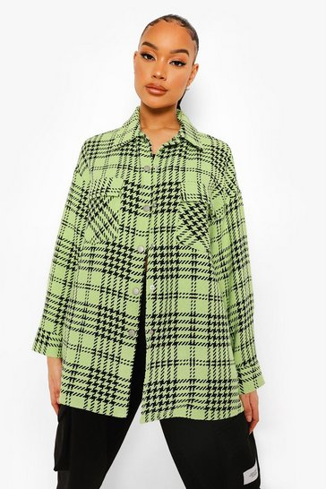 Lime Oversized Check Shacket