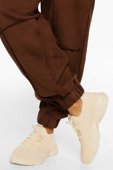 Stone beige Tonal Knitted Sports Trainer