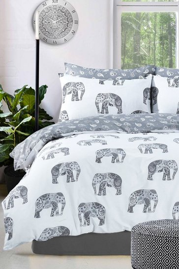Grey Elephant Print Double Duvet Set