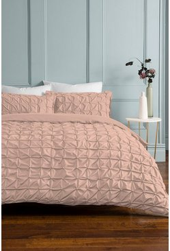 Blush pink Pink Rouched Pleat Double Duvet Set