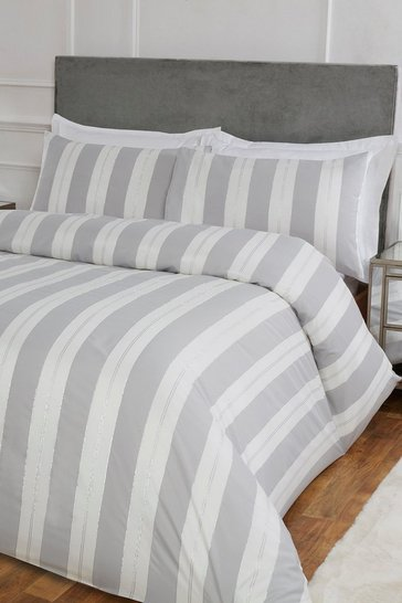 Silver Stripe Jacquard King Duvet Set