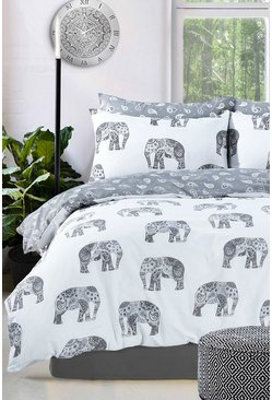 Grey Elephant Print Single Duvet Set