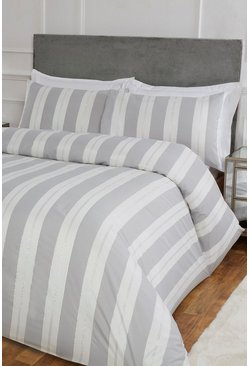 Silver Stripe Jacquard Super King Duvet Set