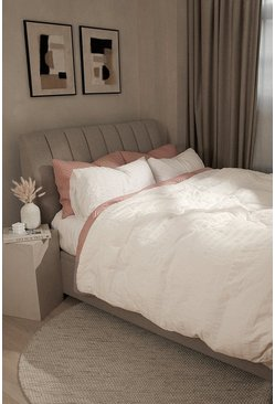 White Classic Seersucker King Duvet Set