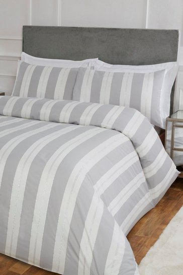 Silver Stripe Jacquard Double Duvet Set