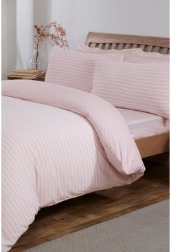 Pink Jersey Melange Stripe Single Duvet Set