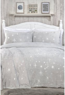 Silver Scattered Stars Fleece Double Duvet Set