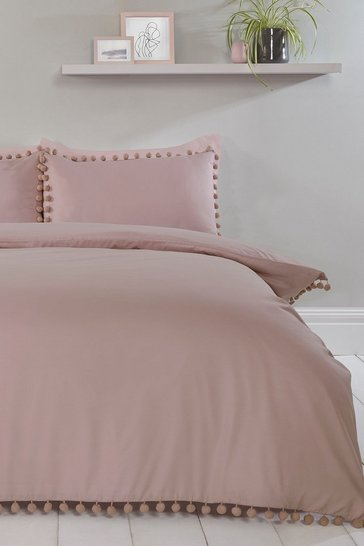 Blush pink Pom Pom Double Duvet Set