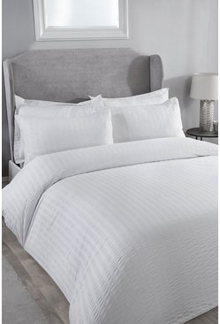 White Classic Seersucker Super King Duvet Set
