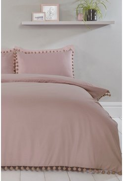 Blush pink Pom Pom Single Duvet Set