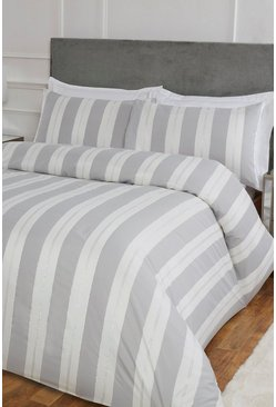 Silver Stripe Jacquard Single Duvet Set