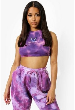 Pink Tie Dye Ruched Detail Crop Top