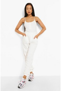 Ecru Rib Button Bodysuit And Jogger Set
