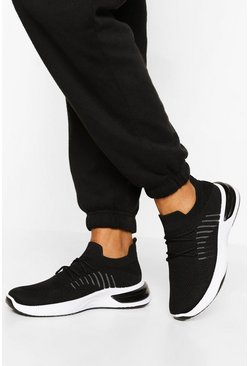 Black Lace Up Bubble Sole Sports Trainers