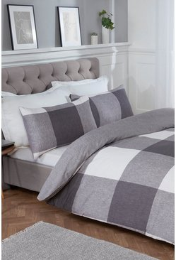 Grey Chunky Gingham Super King Duvet Set