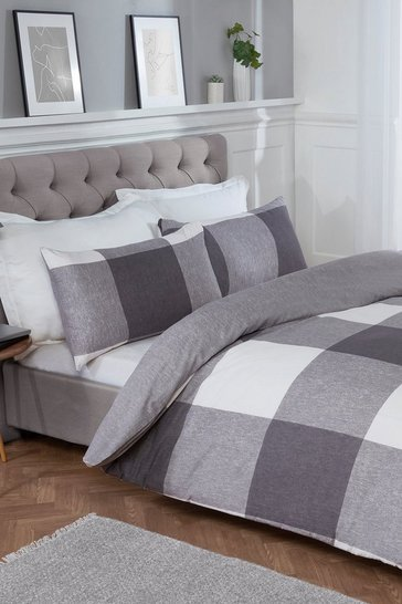 Grey Chunky Gingham Single Duvet Set