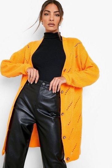 Amber orange Stitch Detail Midi Cardigan