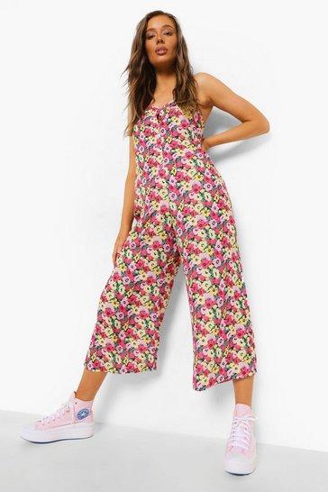 Black Floral Strappy Culotte Jumpsuit