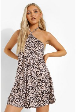 Leopard Halterneck Swing Playsuit, Brown marron