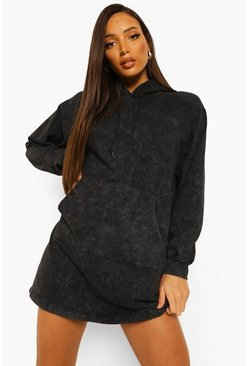 Black Tall Acid Wash Hoody Sweat Dress