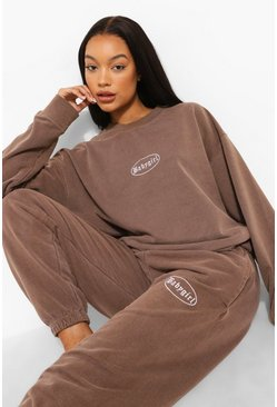Chocolate brun Overdyed Marl Embroidered Tracksuit