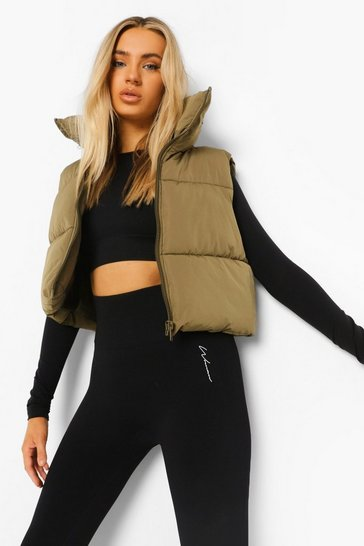 Khaki Funnel Neck Gilet