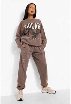 Brown Overdyed Chicago Print Tracksuit