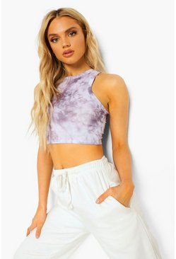 Crop top tie-dye à dos nageur, Grey gris
