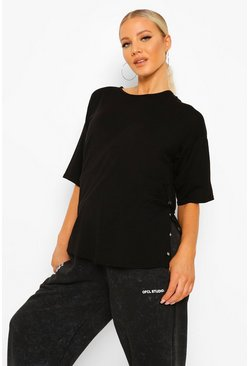 Black Maternity Popper Side Nursing T-shirt
