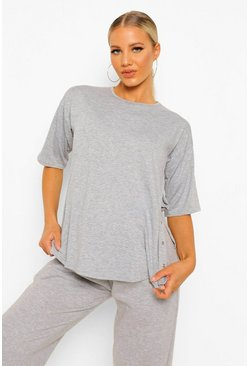 Grey marl grey Maternity Popper Side Nursing T-shirt