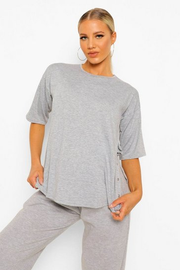 Grey marl grey Grey Maternity Popper Side Nursing T-Shirt