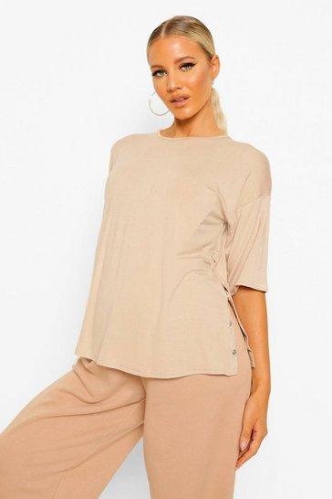 Stone beige Beige Maternity Popper Side Nursing T-Shirt