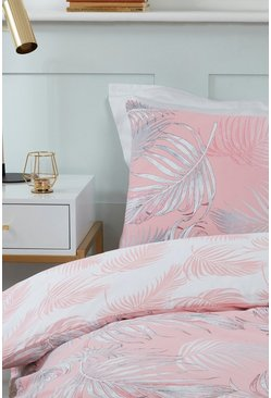 Coral pink Palm Print Double Duvet Set