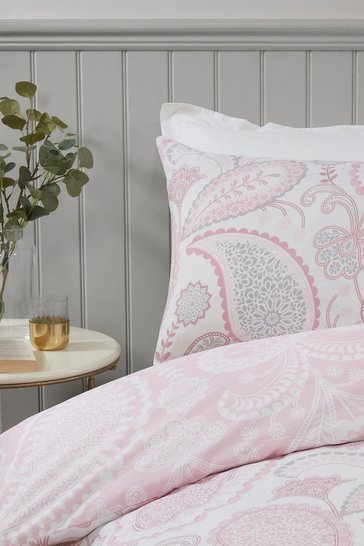 Blush Paisley Print Double Duvet Set