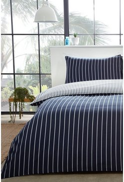 Blue Mini Stripe Double Duvet Set