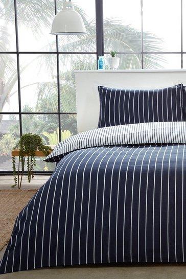 Blue Mini Stripe Double Duvet Set